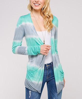 Urban X Women's MINT/GREY - Mint & Gray Tie-Dye Stripe Open Cardigan - Women
