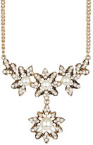 Natasha Accessories Vintage Floral Crystal & Synthetic Pearl Necklace