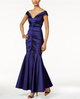 Xscape Evenings Off-The-Shoulder Ruched Mermaid Gown