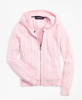 Brooks Brothers Girls Full-Zip Cotton Cable Hooded Sweater