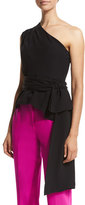 Narciso Rodriguez Sash-Waist One-Shoulder Top, Black