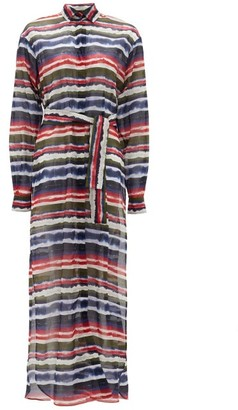 Marios Schwab On The Island By Balos Striped Tie-dye Cotton Shirt Dress - Womens - Multi