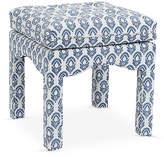 One Kings Lane Julien Tufted Ottoman - Saima - blue/ivory
