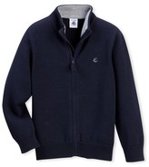Petit Bateau Boys zippered cardigan with stand-up collar