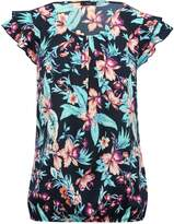 M&Co Tropical frill sleeve shell top