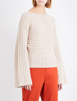 Rosetta Getty Boat-neck ribbed-knit alpaca-blend jumper