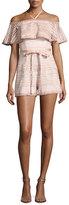 Alexis Araceli Off-the-Shoulder Lace Romper, White/Pink