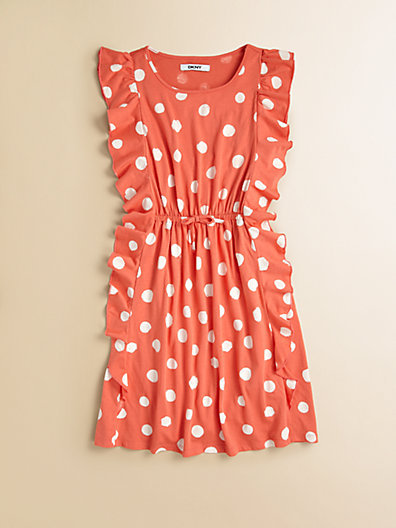DKNY Girl's Dotted Pinafore Dress