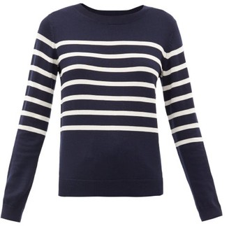 A.P.C. Cordelia Breton-stripe Merino Wool-blend Sweater - Womens - Navy