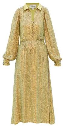 Temperley London Constellation Iridescent-crystal Satin Shirt Dress - Womens - Gold