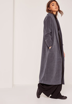 Missguided Petite Grey Shawl Collar Faux Wool Maxi Coat