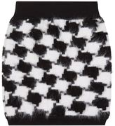 Balmain Furry Houndstooth Skirt
