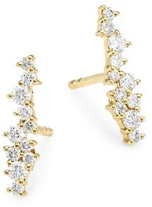 Sydney Evan 14K Yellow Gold & Diamond Small Bar Cocktail Stud Earrings