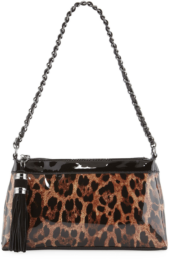 Moschino Leopard-Print Patent Shoulder Bag, Maroon