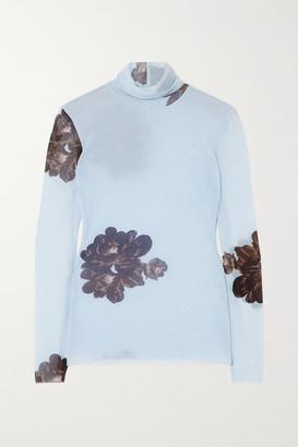 Ganni Floral-print Stretch-mesh Turtleneck Top - Light blue
