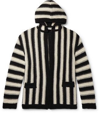 Saint Laurent Striped Virgin Wool Hooded Cardigan
