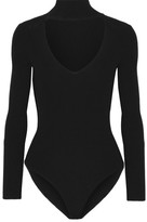 Cushnie et Ochs Cutout Ribbed-knit Bodysuit - Black