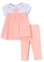Bon Bebe Gray & Blush Rosette Babydoll Top & Leggings - Infant