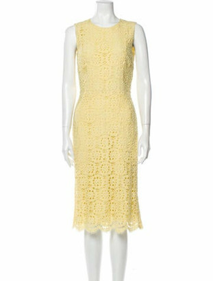 Dolce & Gabbana Lace Pattern Knee-Length Dress Yellow