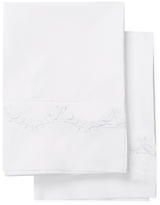 Melange Home Cotton Percale Laurel Embroidered Pillowcase Pair
