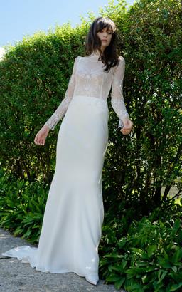 Elizabeth Fillmore Bridal Clarice Long Sleeve Lattice Lace High Neck Sheath Gown