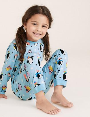Marks and Spencer Pure Cotton Penguin Pyjama Set (1-7 Yrs)