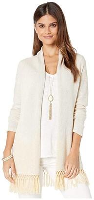 Lilly Pulitzer Tatum Long Fringe Hem Cardigan (Gold Metallic) Women's Sweater
