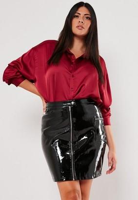 Missguided Plus Size Vinyl Zip Front Mini Skirt