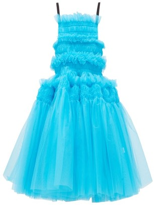 Molly Goddard Barry Hand-smocked Tulle Midi Dress - Blue