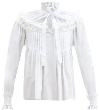Dolce & Gabbana Ruffled High-neck Cotton-blend Poplin Blouse - White