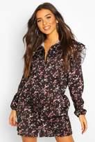 boohoo Floral Print Ruffle Detail Shirt Dress