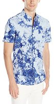 French Connection Men's City Light Tie Dye Short Sleeve Button Down Shirt