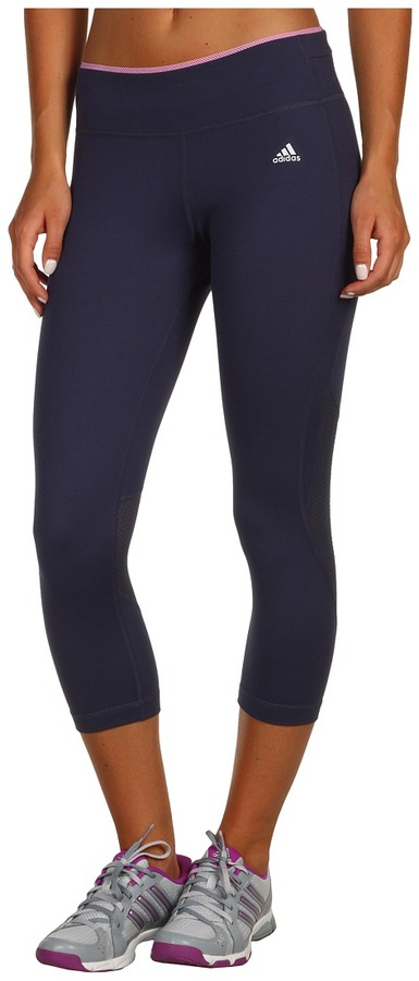 adidas PowerLuxe Houndstooth 3/4 Tight (Urban Sky/Bliss Orchid) - Apparel