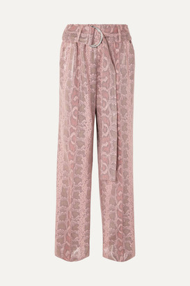 Stand Studio Alaina Belted Snake-effect Coated Vegan Leather Wide-leg Pants - Pink