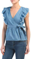 Juniors Denim Ruffle Wrap Top