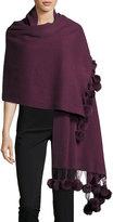 Neiman Marcus Fur-Fringe Knit Wrap