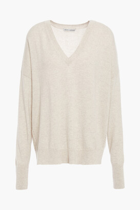 Autumn Cashmere Pointelle-trimmed Melange Cashmere Sweater