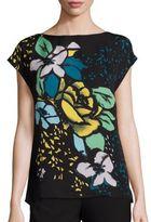 Escada Silk Floral Print Cap-Sleeve Blouse