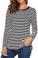 Ours Women's Round Neck Long Sleeve Basic T-shirt Striped Shirts Tunic Top Blouse (M, )
