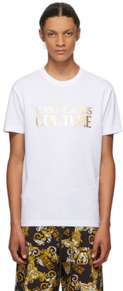 Versace White and Gold Logo T-Shirt