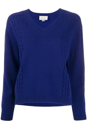 Gucci Ribbed V-Neck Jumper