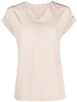 Peserico bead-embellished V-neck blouse