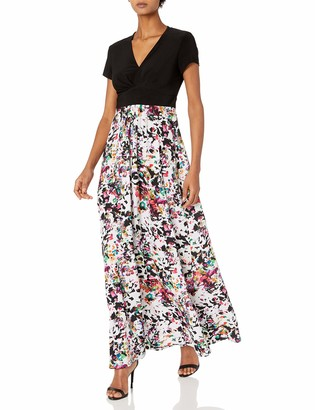 Chetta B Women's Cap Sleeve V-Neck Matte Jersey Bodice with Printed Chiffon Skirt