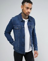 Asos Denim Jacket in Skinny Fit in Blue Wash
