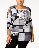 Alfani Plus Size Geo-Print Cold-Shoulder Tunic, Created for Macy's