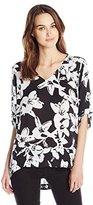 Chaus Women's Hawaiian Blooms V-Neck High Low Blouse