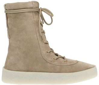 Yeezy Taupe Suede Lace-up Boots