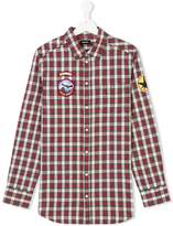 Diesel checked patched shirt