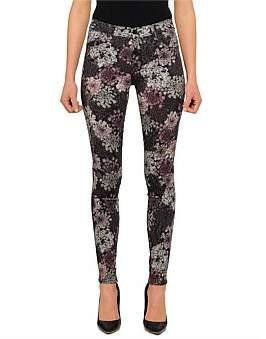 J Brand Mid Rise Super Skinny Floral Print Jean