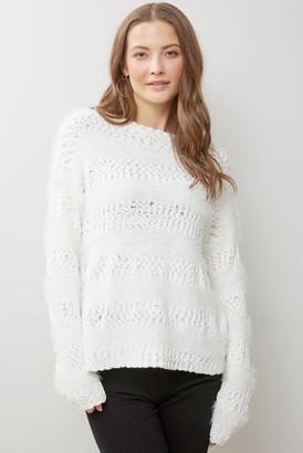 Neely Eyelash Stripe Popcorn Sweater White S